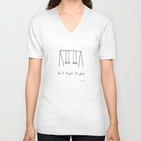 camel V-neck T-shirts featuring don't forget to play by Marc Johns