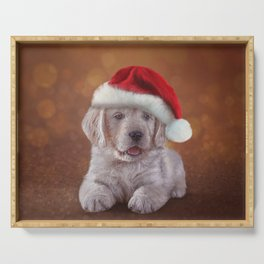 Drawing puppy breed Golden Retriever in red hat of Santa Claus Serving Tray