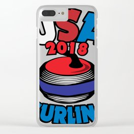 USA 2018 Curling American Curler Winter Sport Clear iPhone Case