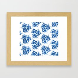 Vintage shabby Chic Seamless pattern with blue flowers and leaves. Vector Framed Art Print