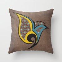 persian Throw Pillows featuring Persian Bird by Katayoon Photography