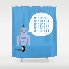 How to Greet a Robot Shower Curtain