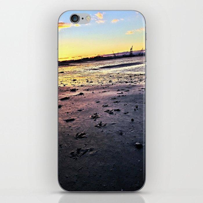 Bird Tracks in Mud at Low Tide Below the Casco Bay Bridge (2) iPhone Skin
