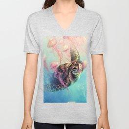 Sea Turtle and Jellyfish! Unisex V-Neck