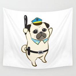 Animal Police - Pug Wall Tapestry