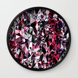 geometric triangle polygon pattern abstract in red pink black Wall Clock