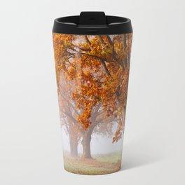Oaks in the misty Autumn morning (Golden Polish Autumn) Travel Mug