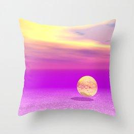 Adrift, Abstract Gold Violet Ocean Throw Pillow