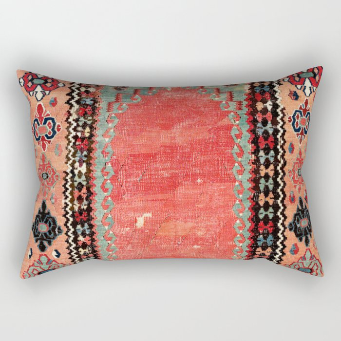 Sivas  Antique Cappadocian Turkish Niche Kilim Print Rectangular Pillow