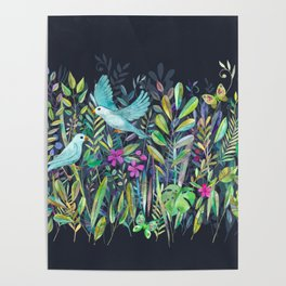 Little Garden Birds in Watercolor Poster