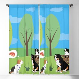 Dog Wild Party in the Nature Blackout Curtain