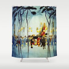 Japanese Covered Litter and Lanterns Shower Curtain