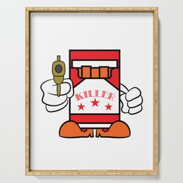 """""""Cigarettes Killer"""" tee design. Makes a unique funny and sensible gift to your loved one! Go get it! Serving Tray"""