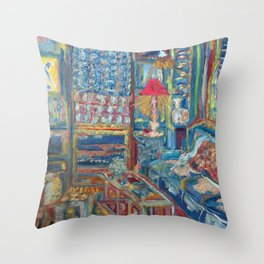 The Beautiful, Messy, Eclectic Room of the Artist When Nobody Else is Around by Pierre Bonnard Throw Pillow