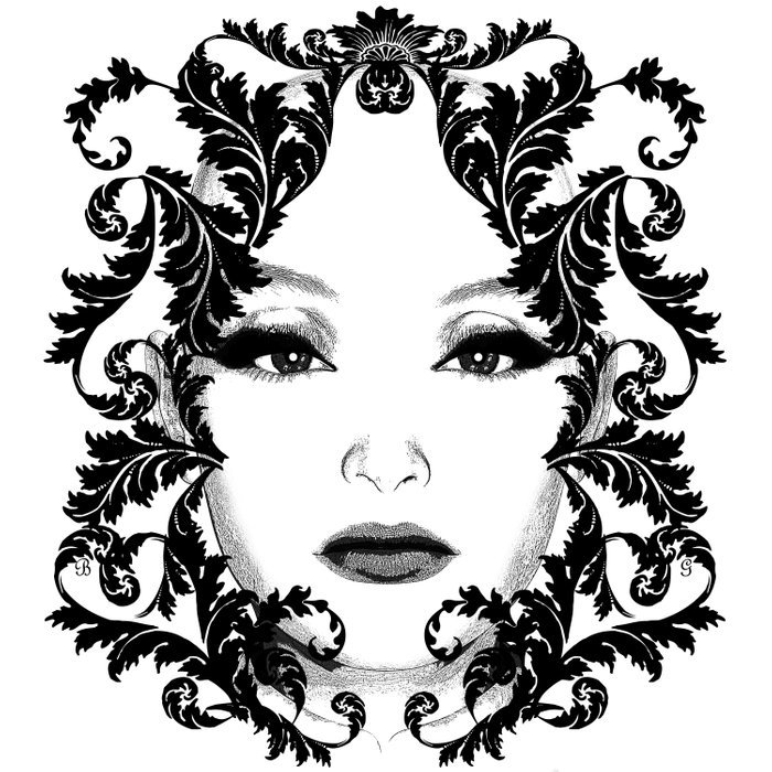 Black and white floral face ornament Comforters