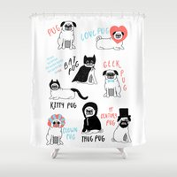 pug Shower Curtains featuring Pug by Abbie Imagine