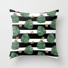 Seamless tropical leaves pattern on stripes background. Greens leaves of exotic monstera plant. Retr Throw Pillow