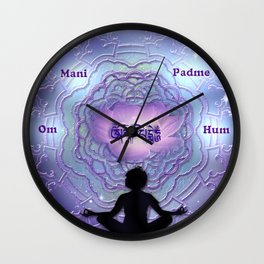Om Mani Padme Hum - mantra art by Giada Rossi Wall Clock