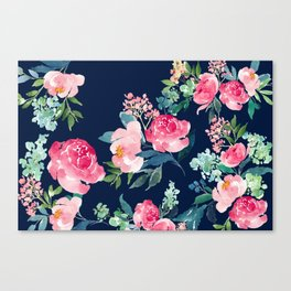 Navy and Pink Watercolor Peony Canvas Print