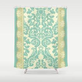 Ornamental Renaissance Border Design Acqua  Shower Curtain