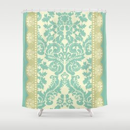 Ornamental Renaissance Border Design Acqua  Shower Curtain