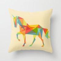 Throw Pillows featuring Fractal Geometric Unicorn by Picomodi
