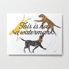 Labradors skating holiday artwork Metal Print