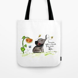 Friends are Loved by All - Baby Elephant Sunflower Butterflies Art by Annette Bailey Tote Bag