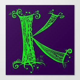 K Green on Purple Canvas Print
