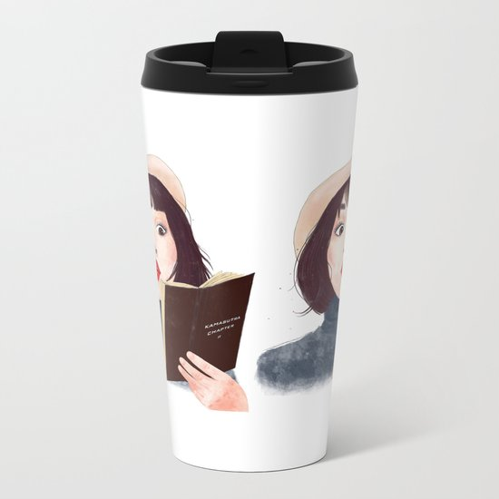 French woman with book Metal Travel Mug