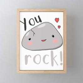 kawaii rock you rock love pun meme  Framed Mini Art Print