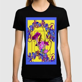 Modern Yellow-Blue Morning Glories Abstract Art T-shirt