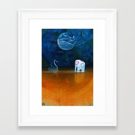 Earth meeting Sky - on Fullmoon Night Framed Art Print