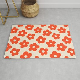 Retro 60s 70s Flower Pattern #pattern #vintage #poppy Rug