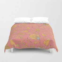 Paradise Florals - Coral & Yellow Duvet Cover