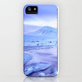 Freezing Mountain Lake Landscape : Blue iPhone Case