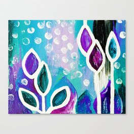 Abstract Flower Painting. Acrylic Painting. Purple. Teal. Blue. Circles Canvas Print
