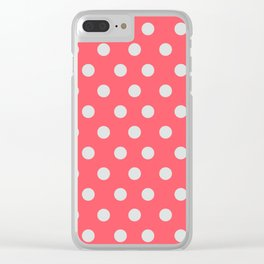 Coral Passion Thalertupfen White Pōlka Large Round Dots Pattern Clear iPhone Case