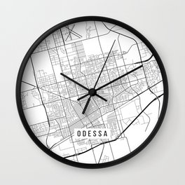 Odessa Map, USA - Black and White Wall Clock