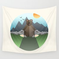 lonely Wall Tapestries featuring Lonely Bear by Moremo