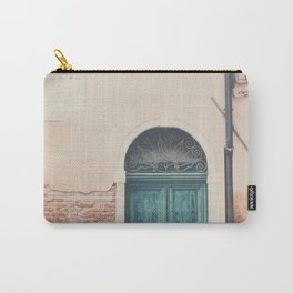 Venice green door architecture print Carry-All Pouch