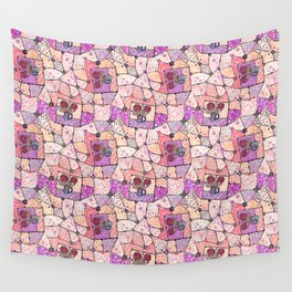 Vintage Grandma Quilt, Textured Watercolor Lavender Purple Flower Quilting Pattern Illustration Wall Tapestry