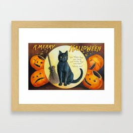 Merry Halloween Black Cat Framed Art Print