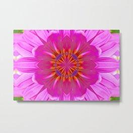 Kaleidoscope Neon Pink Daisy Metal Print