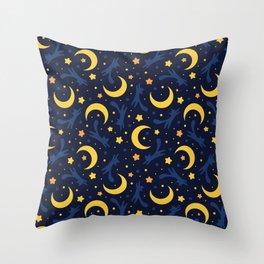 Crescent Moon Cats (Dark Blue) Throw Pillow