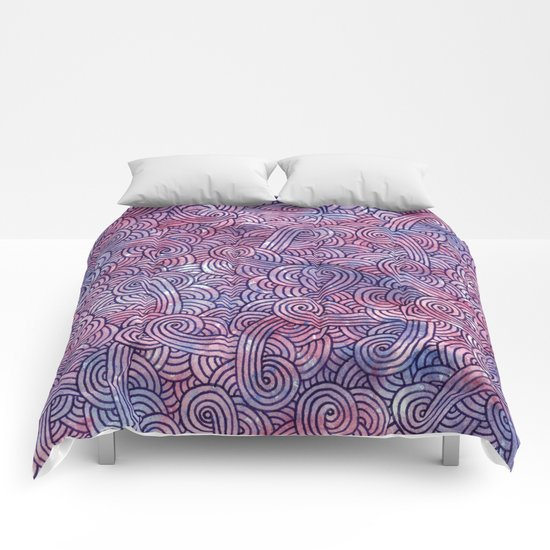 Purple swirls doodles Comforters