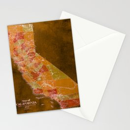 California Los Angeles old vintage map. Orange vintage poster for office decoration Stationery Cards