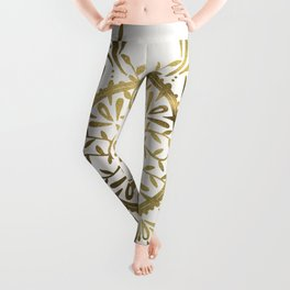 Leaf Mandala – Gold Palette Leggings