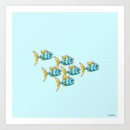 Follow Me Light Turquoise Background Art Print