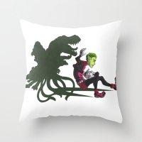 teen titans Throw Pillows featuring Teen Titans: Beast Boy by JaDis